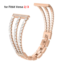 Rose Gold Bracelet for Fitbit Versa 2/3/Lite Band Replacement Woman for Fitbit Sense Wristband Bling Fitbit Sense Correa Luxury