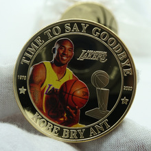 1pc Mamba Basket Player Kobe Bean Bryant gold Coins Collectibles Challenge Coin Colorful