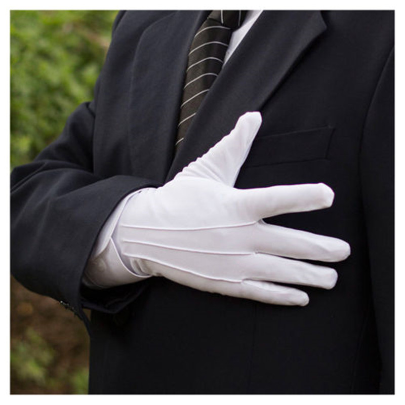 Men Women White Gloves Magician Honor Guard Hands Protector Full Finger Formal Tuxedo Etiquette Reception Parade Labor Insurance