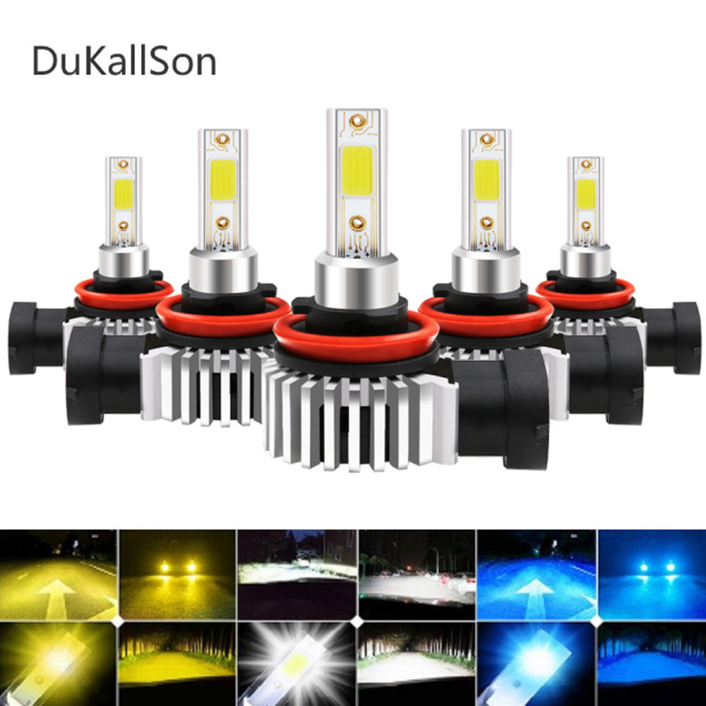 2PCS S1 Auto <font><b>H3</b></font> H8 H11 H4 <font><b>Led</b></font> H7 Bulb Car Headlight High Low Beam 80W 12000LM 12V 24V Fog Light Kit DOB/SMD Chips Car Lights image