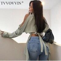 TVVOVVIN2019 New Fahsion Summer tops off shoulder top Sexy Open Back Chiffon Bow Womens Shirt Blouse vintage korean kimono AS773