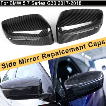 2Pcs Carbon Fiber Side Mirror Replace Carbon Mirror Cover Rear Side View Caps For BMW 5 7 Series G30 G31 2017-2018 LHD Only