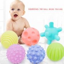 6 pçs textured toque bola de borracha conjunto macio desenvolver bebê tátil sentidos toque do bebê mão formação massagem bola chocalho atividade brinquedos