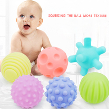 6pcs Textured Touch Rubber Ball Set Soft Develop Baby Tactile Senses Baby Touch Hand Training Massage Ball Rattle Activity Toys