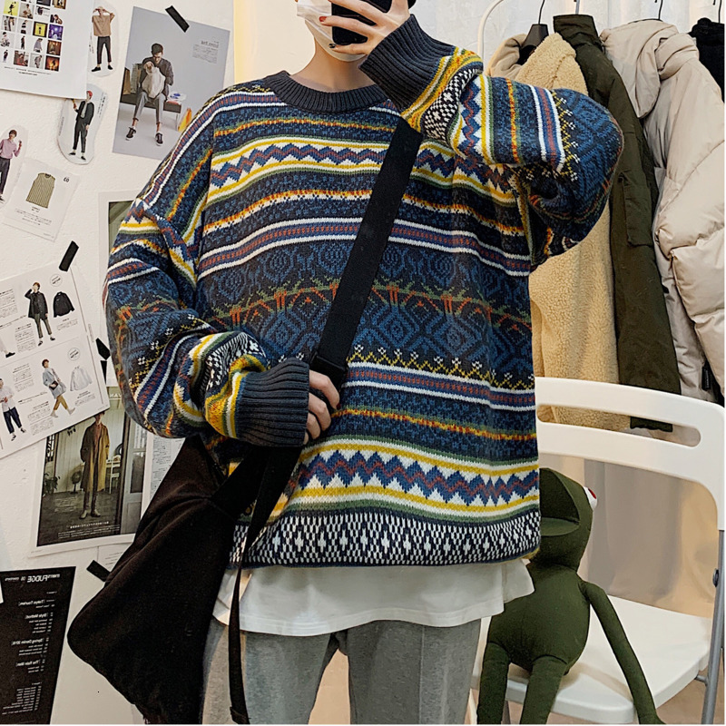 2019 UYUK New Winter Base Ethnic Style Patchwork Pullover Collar Temperament Casual Men Sweater  Clothes Hombre Masculina