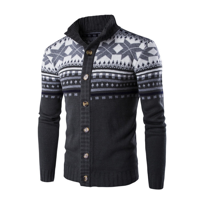 Sweater Winter New Pullover Snowflake Pattern Men 's Leisure Cardigan Fashion Collar Male Thickening Wool Jackets