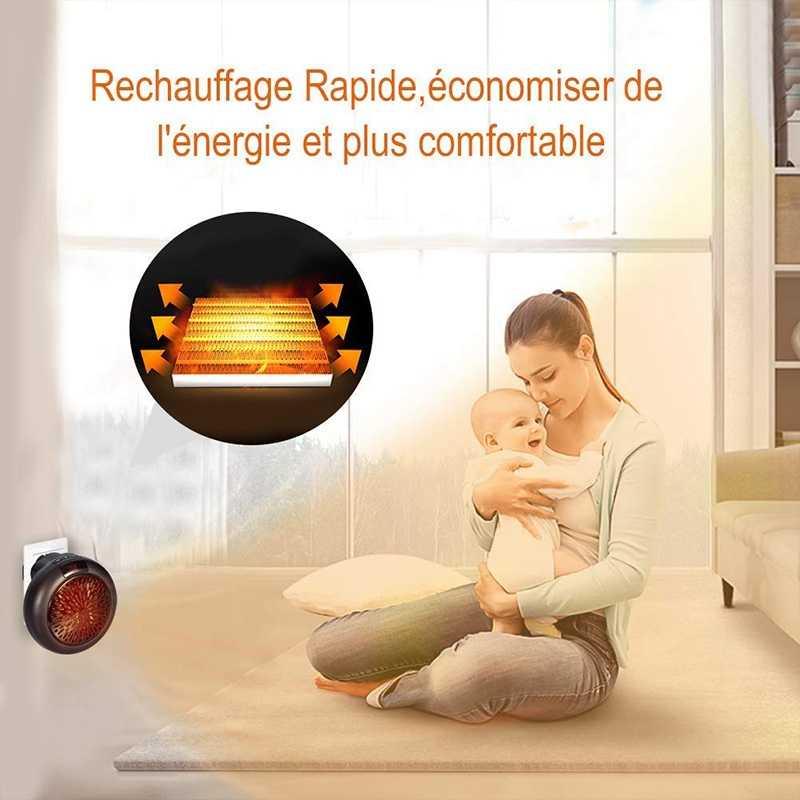 Chauffage mural électrique Mini chauffe-espace personnel enfichable Portable chauffage intérieur Camping partout Thermostat réglable w