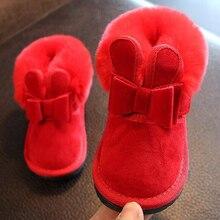 Ботинки для маленьких девочек с бантиком кролика; цвет красный, розовый; ботильоны; теплые меховые сапоги с животными; Новинка года; теплые зимние сапоги; sandq детский