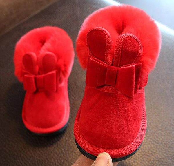 Little Girls Boots Bunny Bow Red Pink Ankle Boot Warm Fur Animal Boots 2019 New Warm Snow Boots SandQ Baby