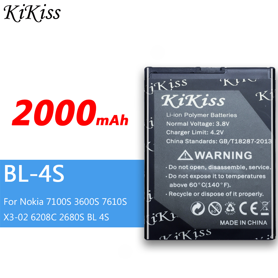 2000mAh KiKiss Lithium Polymer Rechargeable Battery BL-4S For Nokia 7100S <font><b>3600S</b></font> 7610S X3-02 6208C 2680S BL 4S image