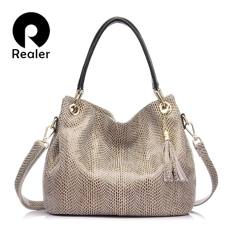 Realer Woman Handbags Genuine Leather Bag Female Hobos Shoulder Crossbody Bags High Quality Leather Totes Women Messenger Bag