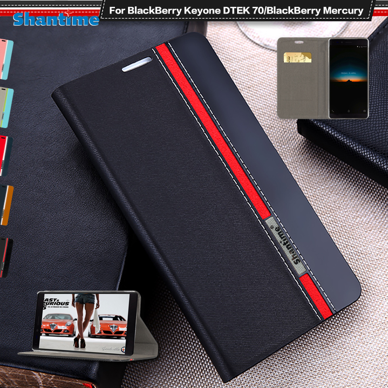 Luxury PU Leather Case For BlackBerry Keyone DTEK 70 Flip Case For BlackBerry Mercury Phone Case Soft TPU Silicone Back Cover(China)