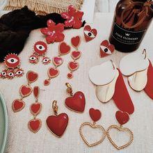 Женские серьги подвески flatfoosie красные цветочные в форме