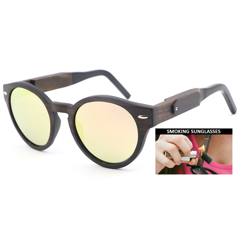 Dropshipping 2020 Newest Acetate And Wooden Smoking <font><b>Sunglasses</b></font> High Quality Cat Eye Ebony Smokable Pipe Sun Glasses image