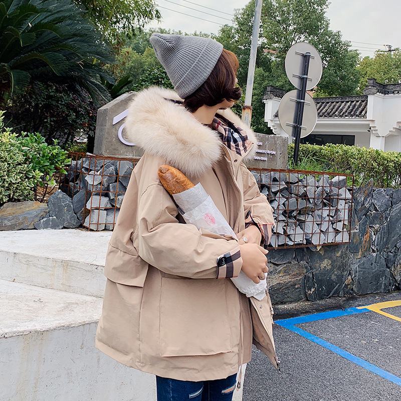 Women 2019 Winter White Duck   Down     Coat   Casual Loose Hoodies with Fox Fur Collar Jacket Adjustable Waist
