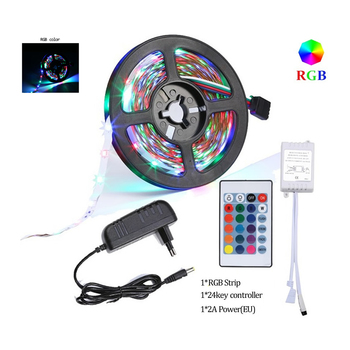 Hi-Lumix 5M RGB LED Strip SMD 2835 LED Light DC 12V Flexible led strip christmas 24key IR Controller power adapte for party, eve image