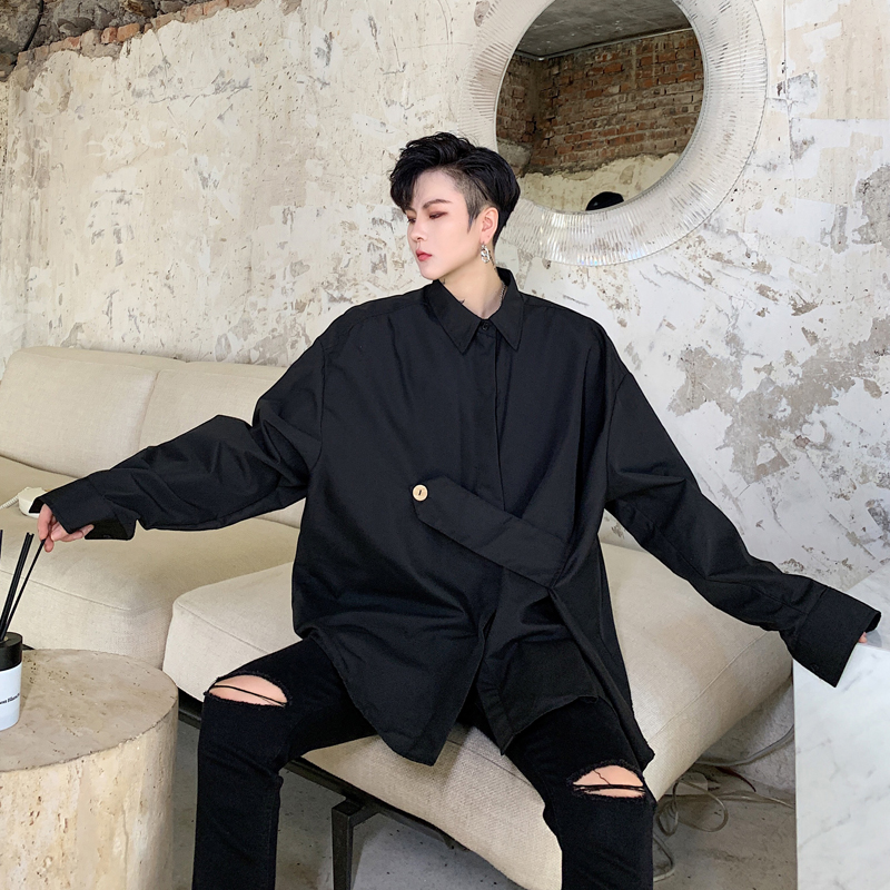 Fashion Streetwear Long Sleeve Shirt Stage Clothing Men Loose Casual Shirt Hip Hop Party Dress   Button Design  B70