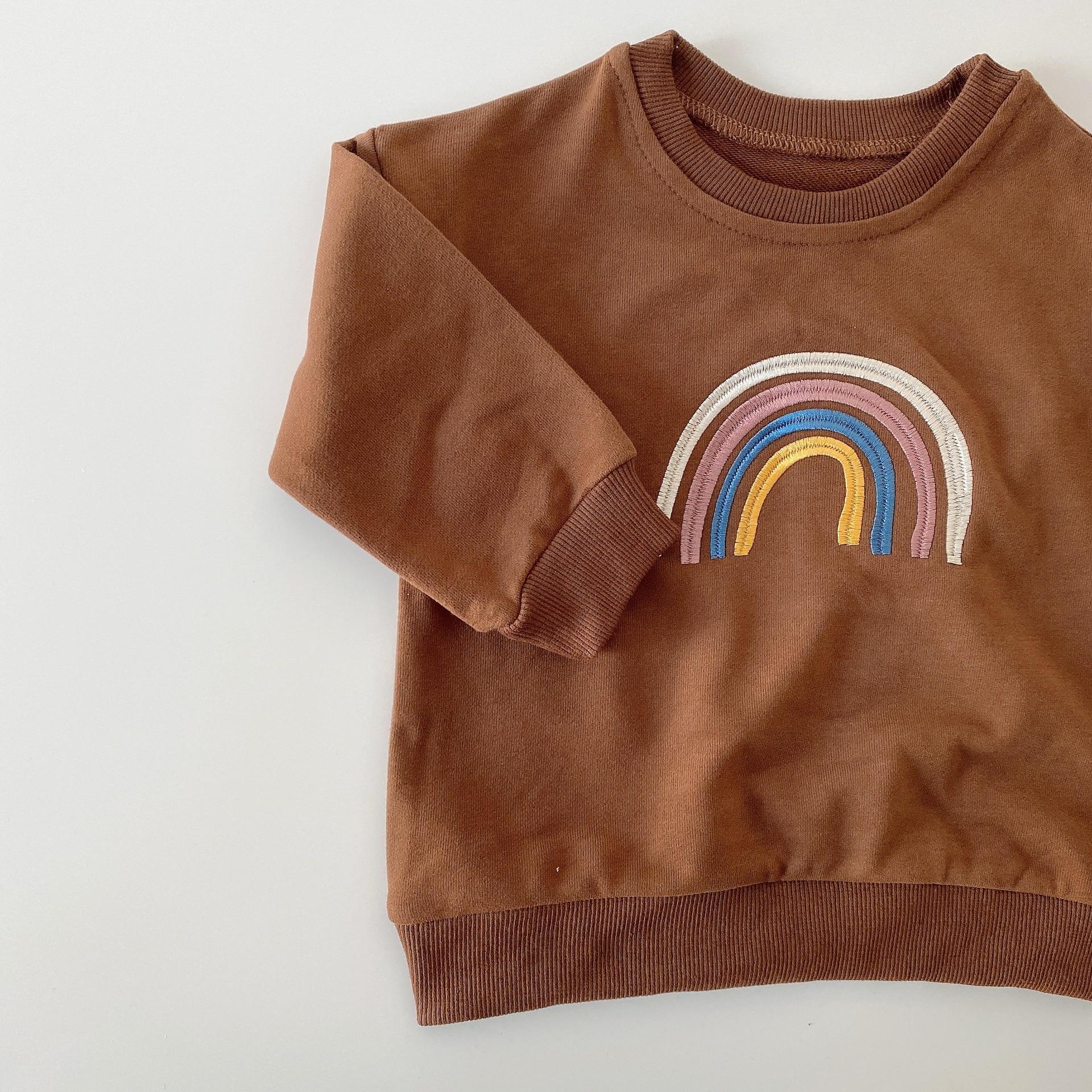 Autumn Baby Girls Embroidery Rainbow Sweatshirts Long Sleeve Tops Kids Toddler Boys Pullover Sweatshirt Rainbow T-shirt Clothes 3