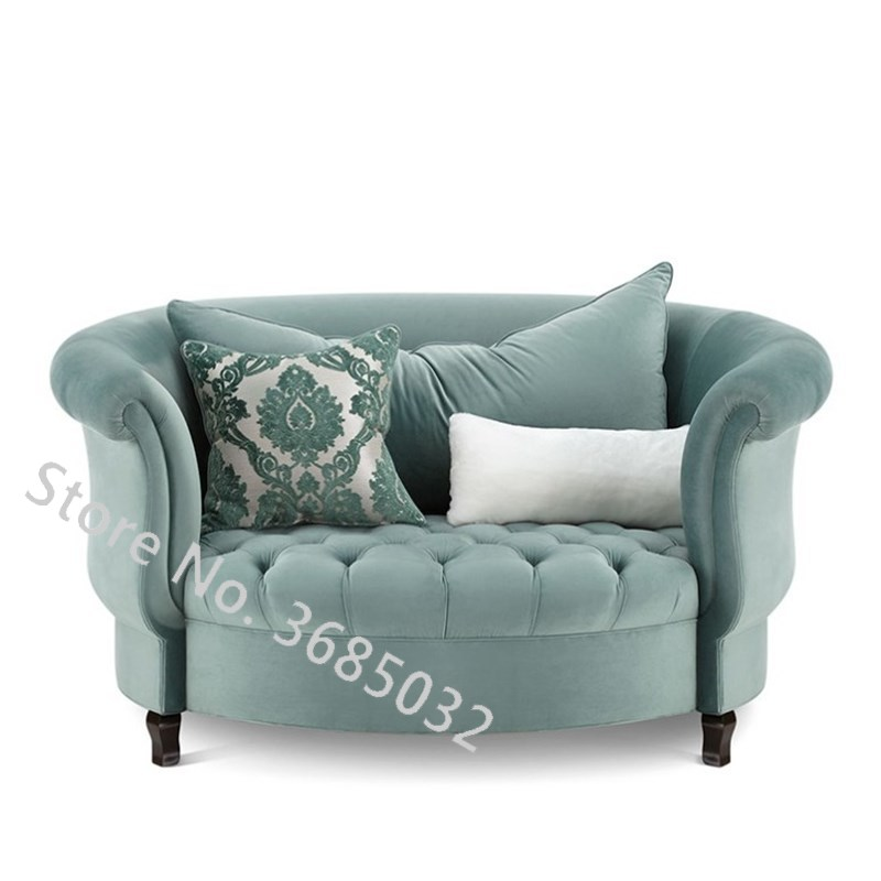 Fashion Living Room Sofas American Round Cloth Modern Simple Living Room Mini Lazy Single Art Leisure Chair