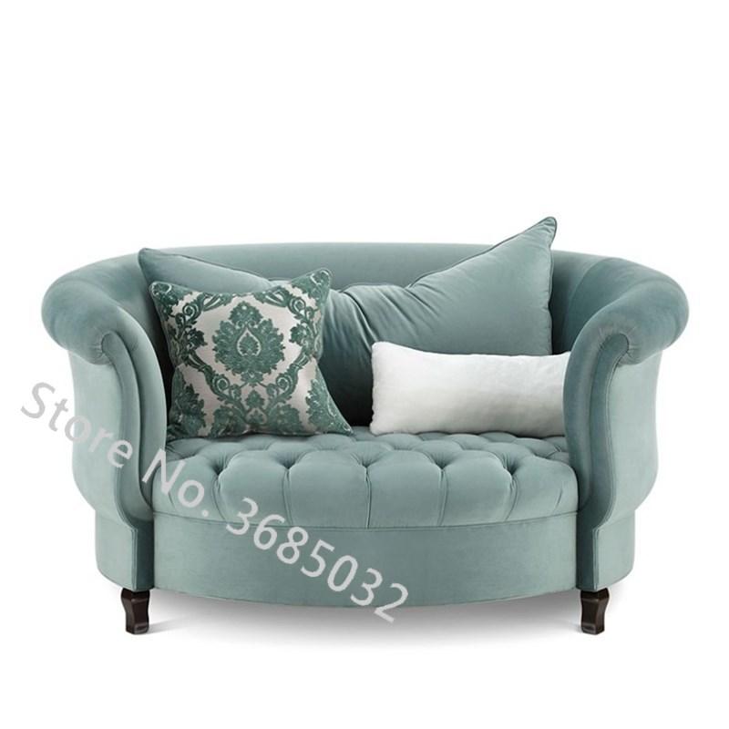 Fashion Living Room Sofas American Round Cloth Modern Simple Living Room Mini Lazy Single Art Leisure Chair