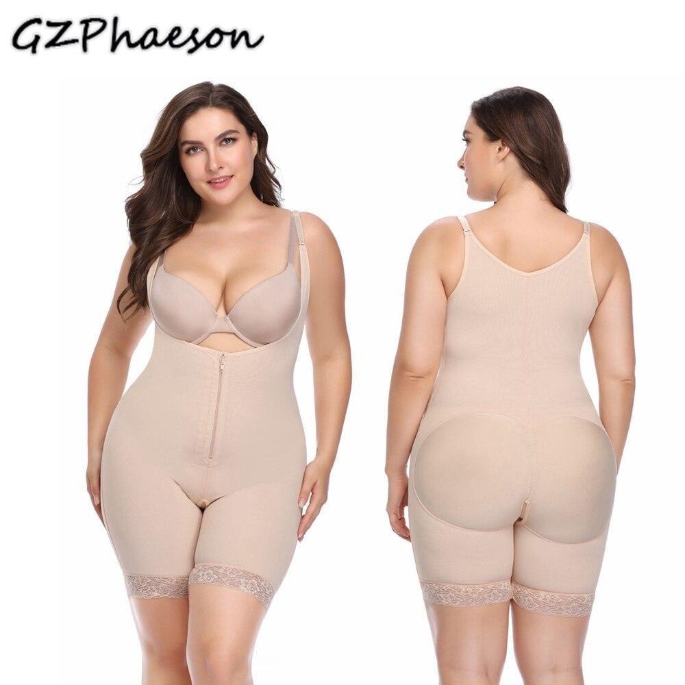 Women Postpartum Waist Trainer Thong Bodysuit Full Body Shapewear Underbust Plus