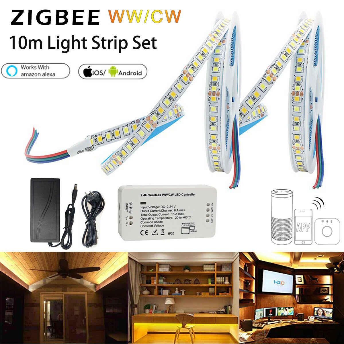 1M-5M Zigbee 3.0 Smart Controller DC12V RGB+CCT LED Streifen+Power for echo plus