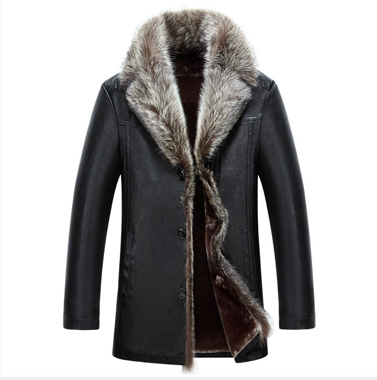 Leather Winter Mens Jackets Men's Fashion Real Raccoon Collar Coat Men Faux Sheepskin Jackets Plus Size Men Coats Size 4XL YYJ18