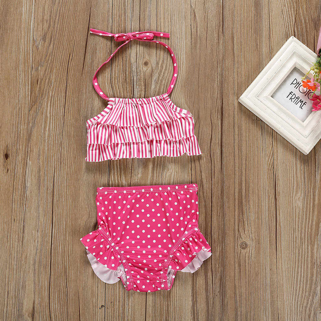 Dziecięce stroje kąpielowe dla dziewczyn w paski nadruk w kropki kamizelka strój kąpielowy na lato wzburzyć Backless Bikini stroje z wysokim stanem strąckąpielowy