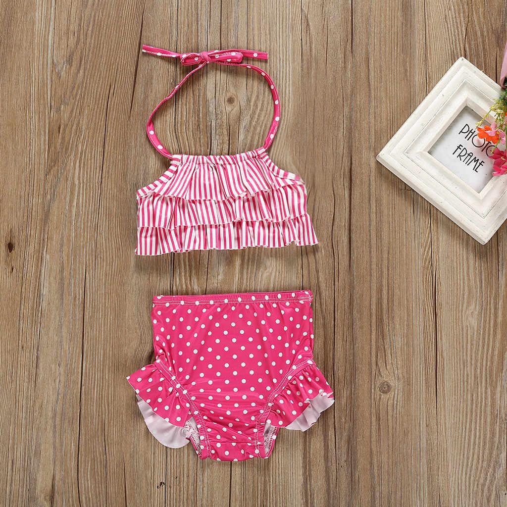 Śliczne dzieci dziewczynek paski Dot stroje kąpielowe kamizelka z nadrukiem letnie stroje kąpielowe wakacje pływanie strój kąpielowy Bikini stroje