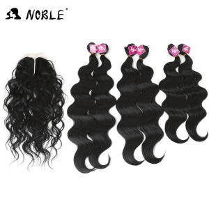 Noble Hair Closure Weaving Blonde Synthetic-Hair Body-Wave 6-Bundles Black with Lace