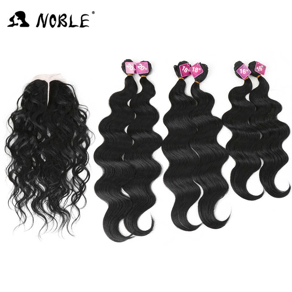 Szlachetne włosy syntetyczne 16-20 cali 7 sztuk czarne blond tkania włosy typu Body Wave 6 wiązek z zamknięciem koronki dla czarnych kobiet