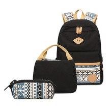 3 adet Set tuval nokta sırt çantası çocuklar okul çantaları hafif genç kızlar Laptop sırt çantaları yalıtımlı öğle yemeği çantası + kalem kılıf
