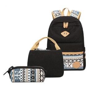 Image 1 - 3 adet Set tuval nokta sırt çantası çocuklar okul çantaları hafif genç kızlar Laptop sırt çantaları yalıtımlı öğle yemeği çantası + kalem kılıf