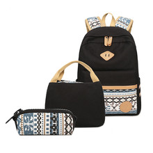3Pcs Set Canvas Dot Backpack Junior High School Bag Lightweight Teen Girls Laptop Backpacks with Insulated Bag+Pencil Case