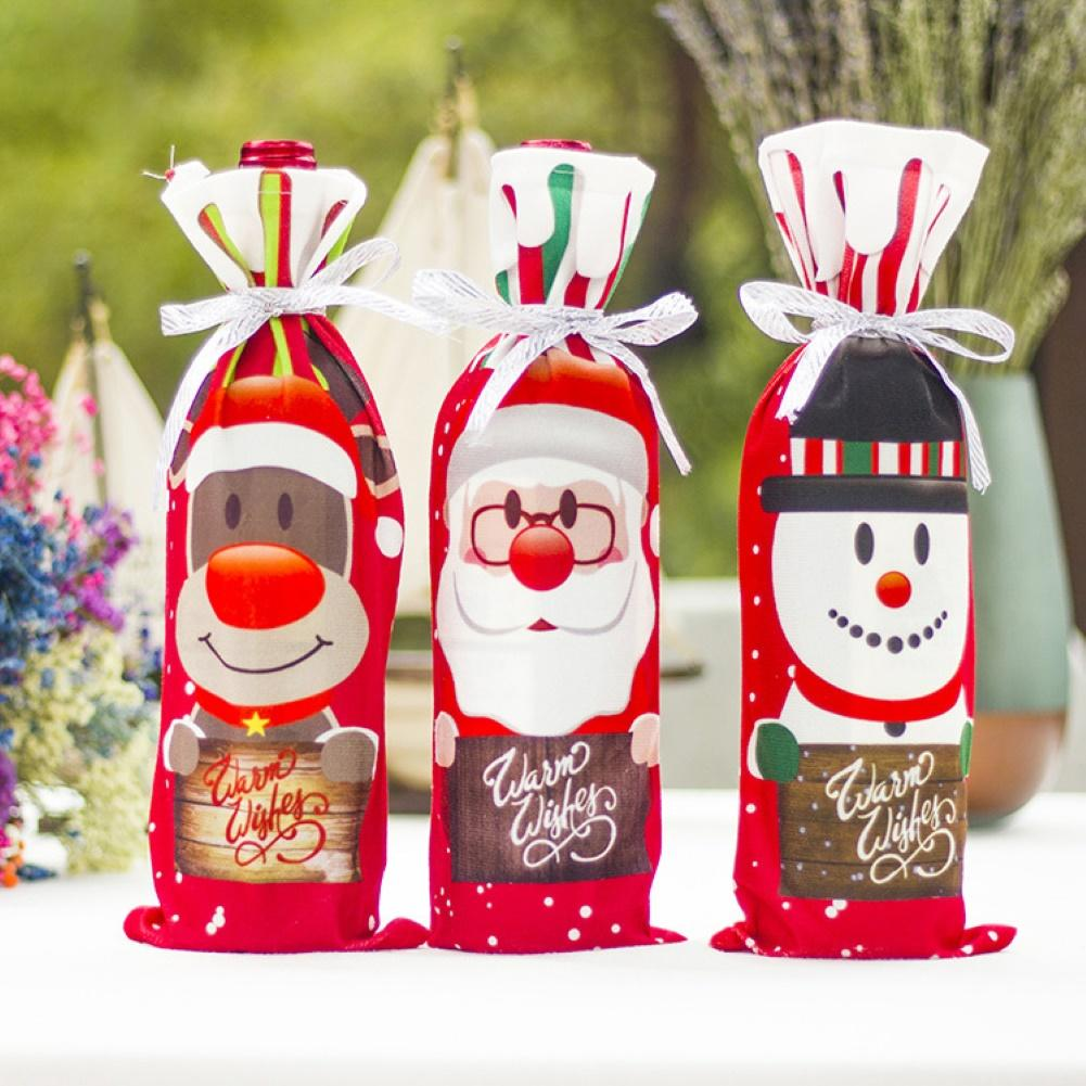 Christmas Santa Snowman Elk Champagne Wine Bottles Cover Sleeve Bag Table Decor Wine Bottle Cover Christmas BottleCover Ornament