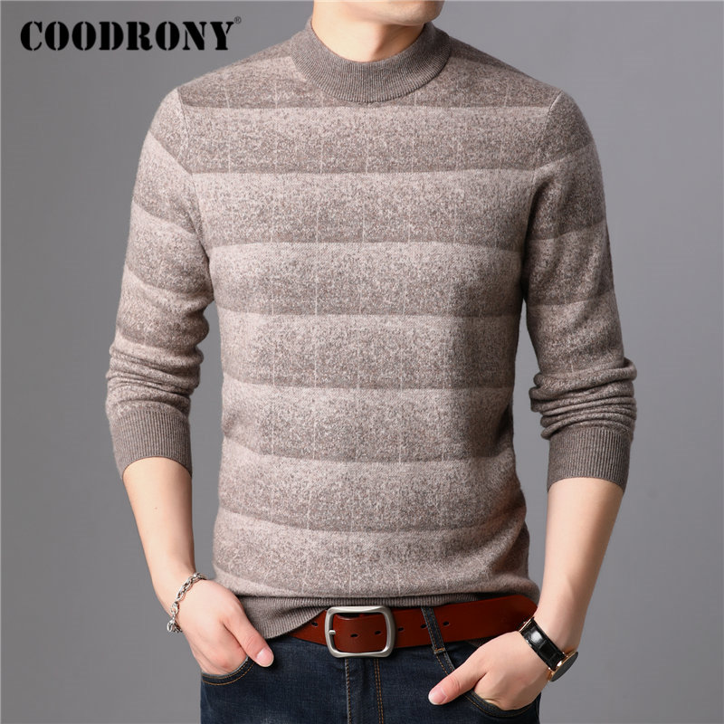 COODRONY Brand Sweater Men 100% Merino Wool Pullover Men Thick Warm Winter Cashmere Sweaters Casual Striped Pull Homme Top 93027