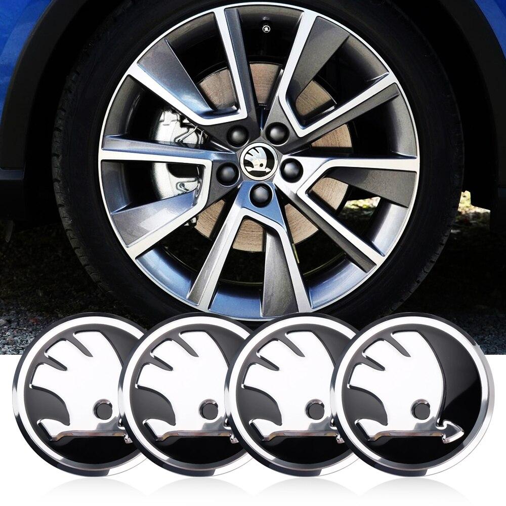 4pc Car Styling Auto LOGO Emblem 56mm Wheel Center Hub Cap Car Sticker For Skoda Octavia A5 A7 Fabia Superb Accessories