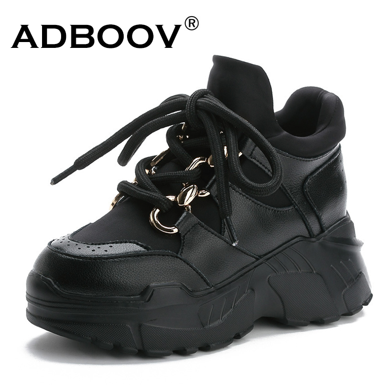 ADBOOV Mid-cut Fashion Platform Sneakers <font><b>Women</b></font> PU Leather Chunky Causal <font><b>Shoes</b></font> Ladies Schuhe Damen Female Footwear image