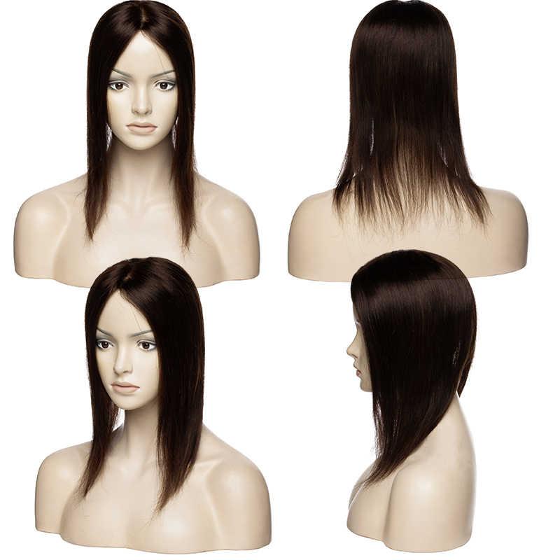 סגו 15x16cm שיער טבעי טופר פאה עבור נשים לנשימה משי בסיס עם 5 קליפ שיער פאה ללא-רמי פאה טבעי צבע
