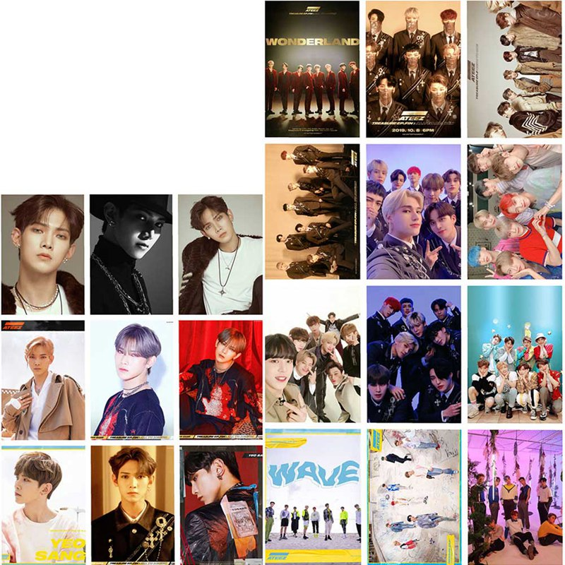 16pcs/set ATEEZ Photocard Postcard  Album Photo Card ATEEZ Lomo Cards New Arrivals