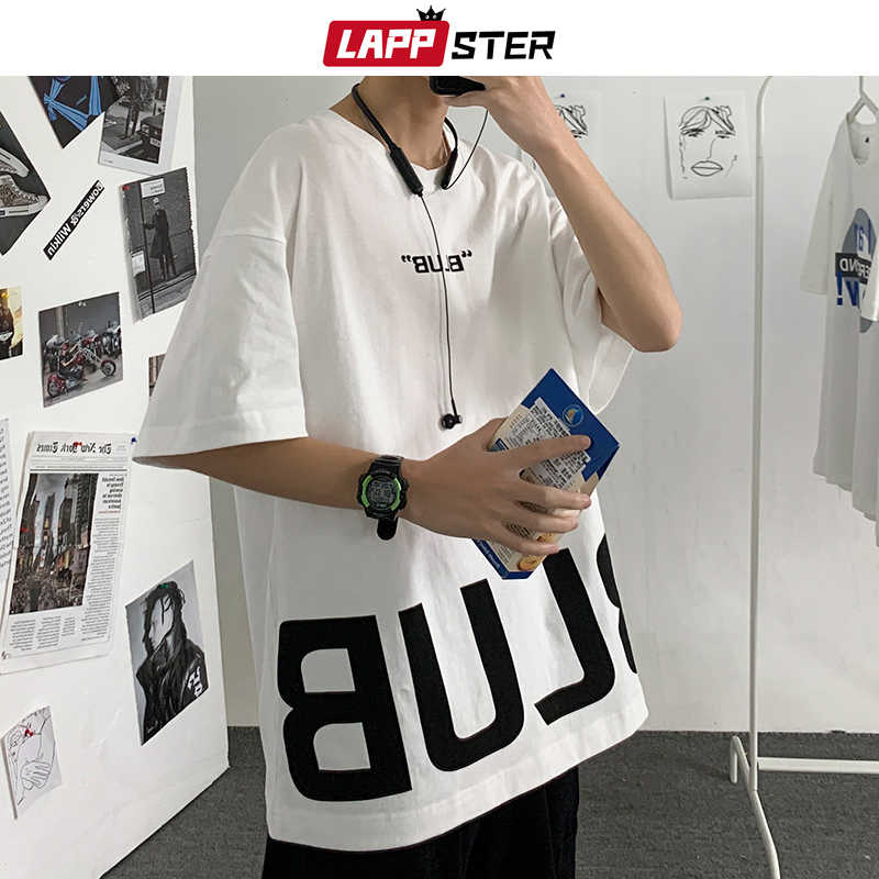 Lappster men oversized japanese streetwear hole tshirts 2019 mens 하라주쿠 화이트 티셔츠 긴 소매 힙합 kpop clothes 5xl