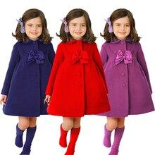 Новинка года; шерстяное пальто для маленьких девочек; сезон осень-зима модное пальто принцессы с бантом для девочек верхняя одежда с длинными рукавами; D20