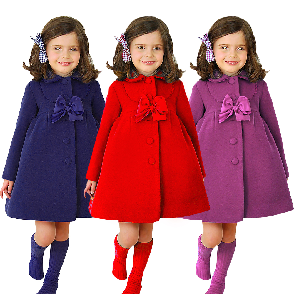 2019 New Winter Autumn Toddler Kids Girls Wool Coat Princess Overcoat Fashion Fille Girl Bowknot Trench Full Sleeve Outwear D20