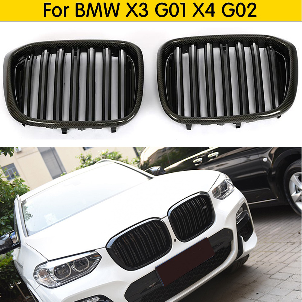 2-Slats Real Carbon Front Kidney <font><b>Grill</b></font> For <font><b>BMW</b></font> <font><b>X3</b></font> X4 <font><b>G01</b></font> G02 Racing Grille ABS xDrive20i xDrive30i 2018+ image