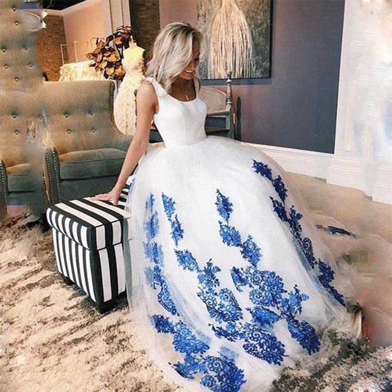 SoDigne Plus Size White Wedding Gown Scoop Blue Lace Appliques Lace-up Wedding Princess Ball Gowns Vestido De Noiva Romantic