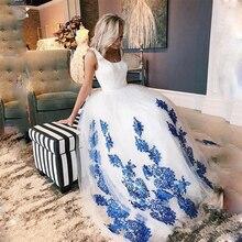 SoDigne Plus rozmiar biała suknia ślubna Scoop niebieska koronka aplikacje sznurowane ślubne księżniczka suknie balowe Vestido De Noiva Romantic