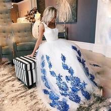 SoDigne בתוספת גודל לבן חתונה שמלת סקופ כחול תחרה אפליקציות שרוכים חתונה נסיכת כדור שמלות Vestido דה Noiva רומנטי
