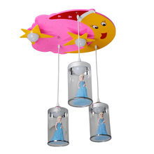 Hanging Kids Bedroom Chandelier Cartoon Pink Moon Snow White Ceiling Lamps Girl Home Decor Creative