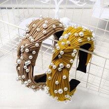 New Solid Wide Knot Pearl Headbands For Women Girls Handmade Knitted Twist Hairbands Bezel Makeup Winter Hair Accessories