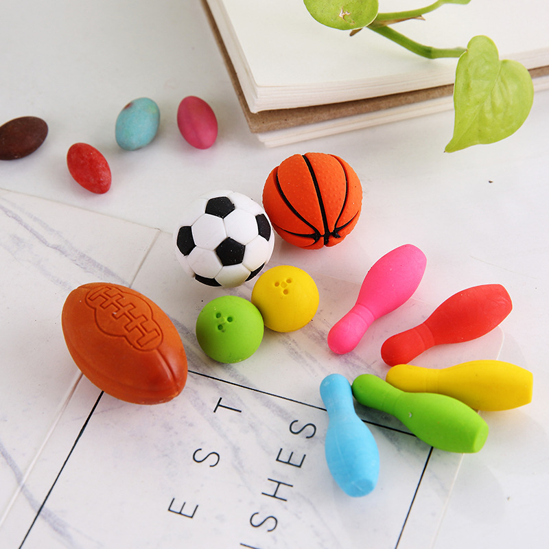 10 Pcs/pack Basketball Football Erasers Creative Writing Drawing Rubber Pencil Eraser Stationery For Kids Gifts School Supplies